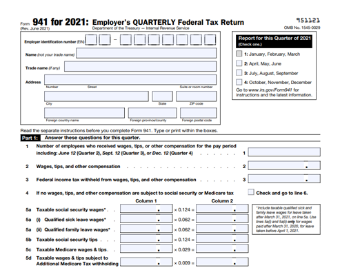 Form 941 for 2021